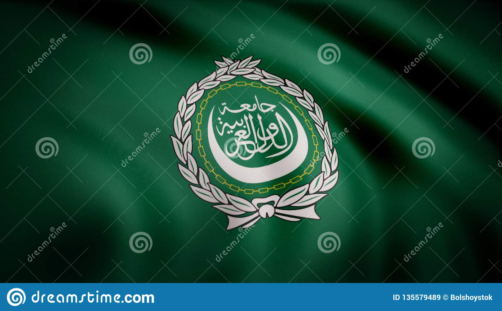 Arab League flag waving seamless loop. Arab League loopable flag with highly detailed fabric texture. League of Arabian