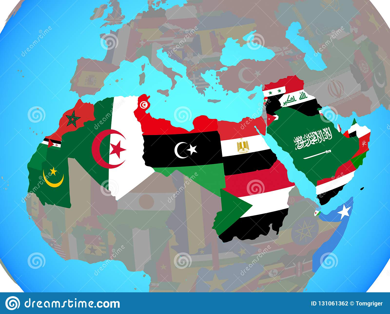 Picture of: Arab League With Flags On Map Stock Illustration Illustration Of Political National 131061362