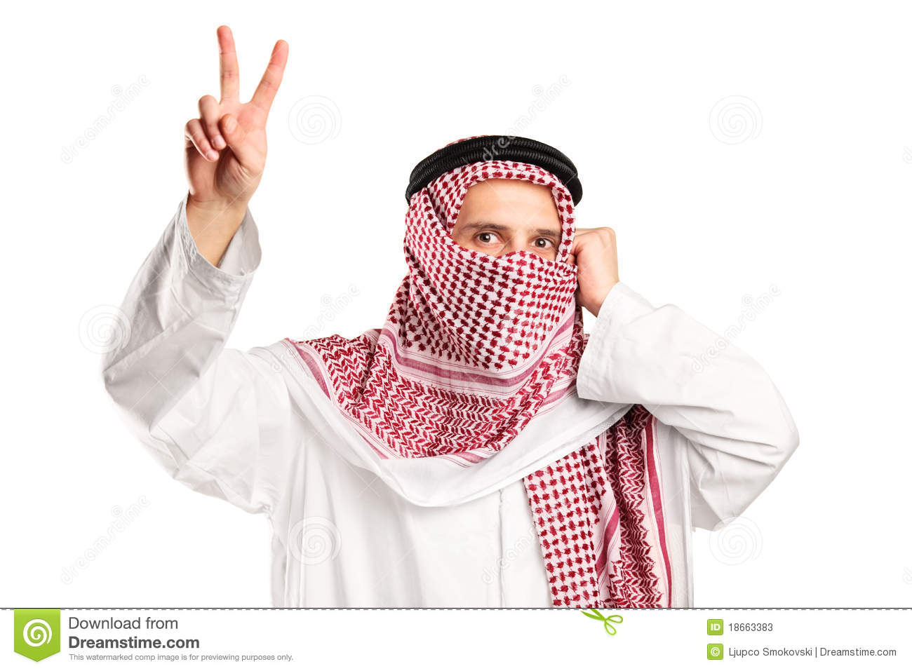 Arab Man With Covered Face Gesturing Victory Stock Image
