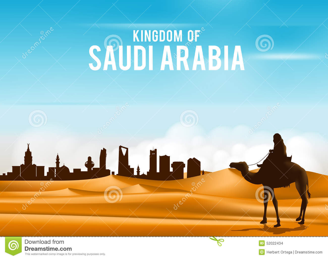 Arab Man Riding In Camel In Wide Desert Sands Stock Vector ...