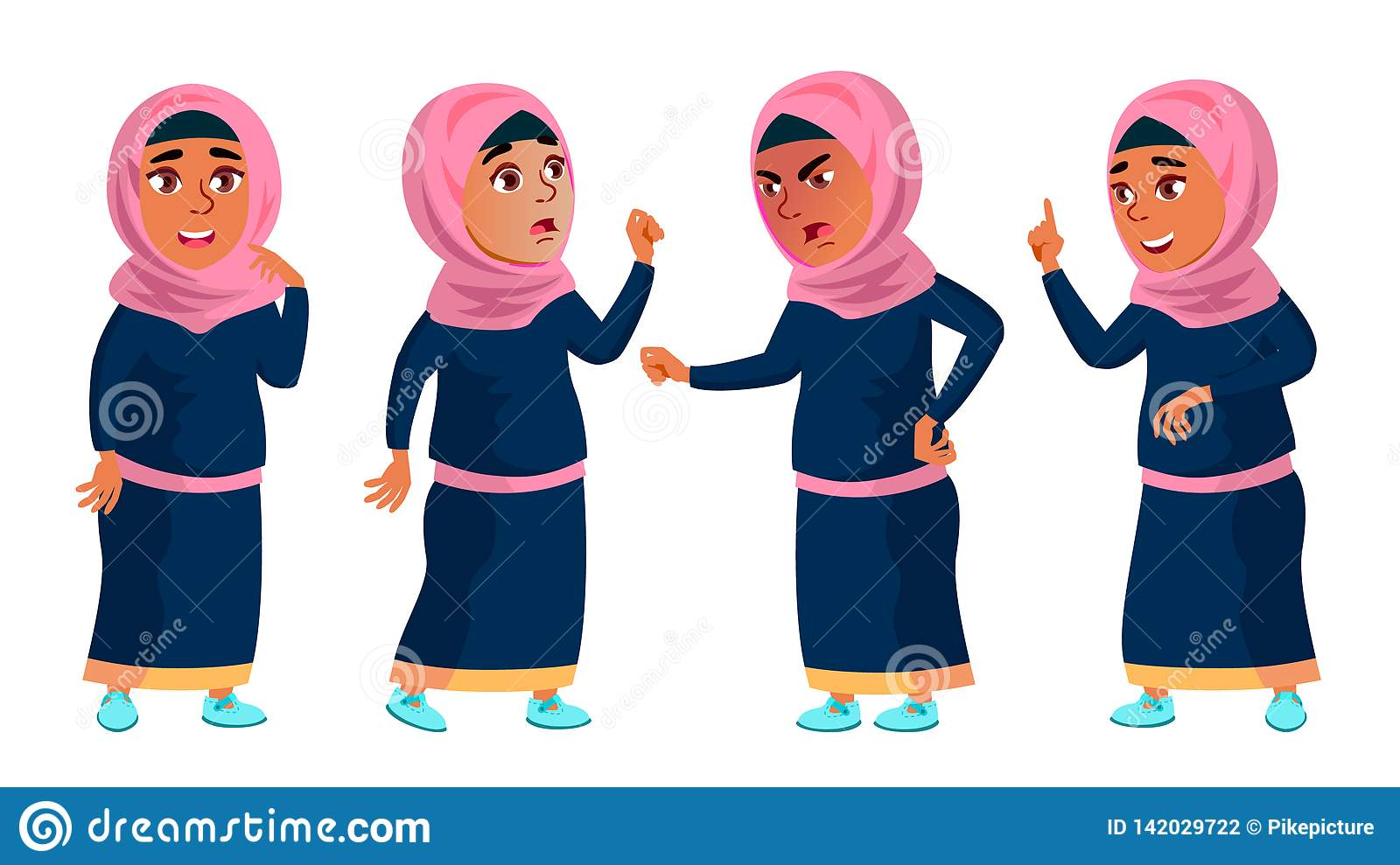 Arab, Muslim Girl School, Girl Kid Poses Set Vector. Child. Teenage. Traditional Clothes. For Web, Brochure, Poster