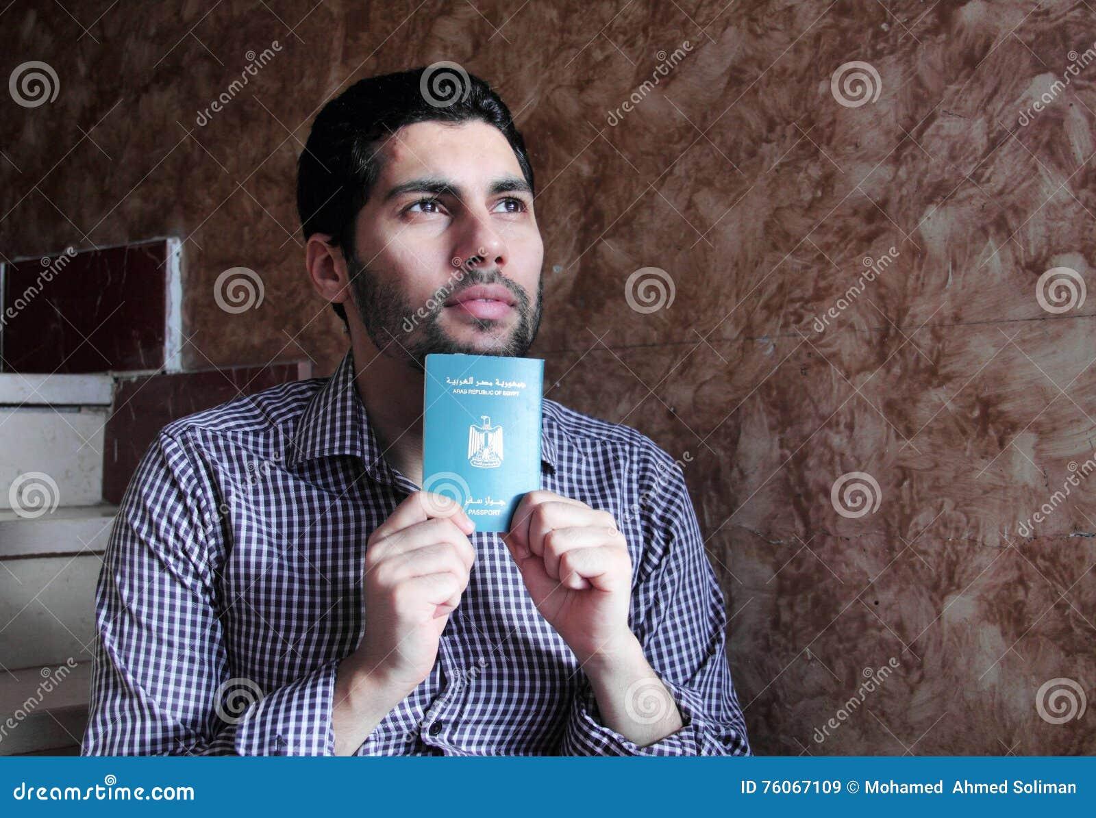 Arab muslim man with egypt passport
