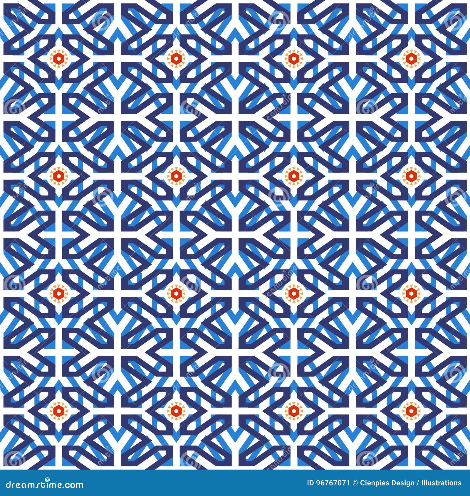 Arab Muslim Mosaic Tile Vintage Seamless Pattern Stock Vector ...