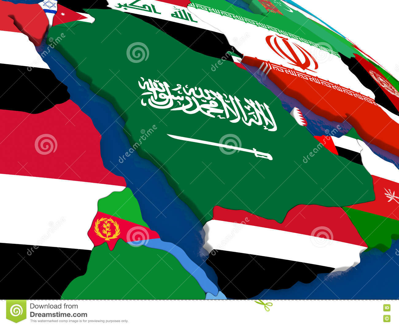 Picture of: Arab Peninsula On 3d Map With Flags Stock Illustration Illustration Of Flag Yemeni 73330201