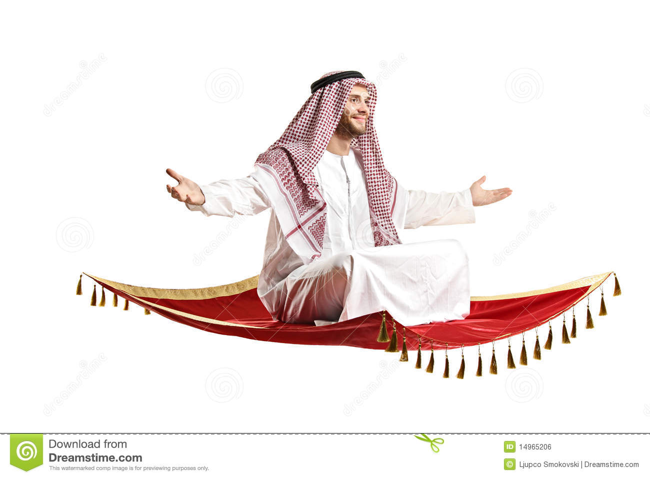 An Arab Person Sitting On A Flying Carpet Stock Photo