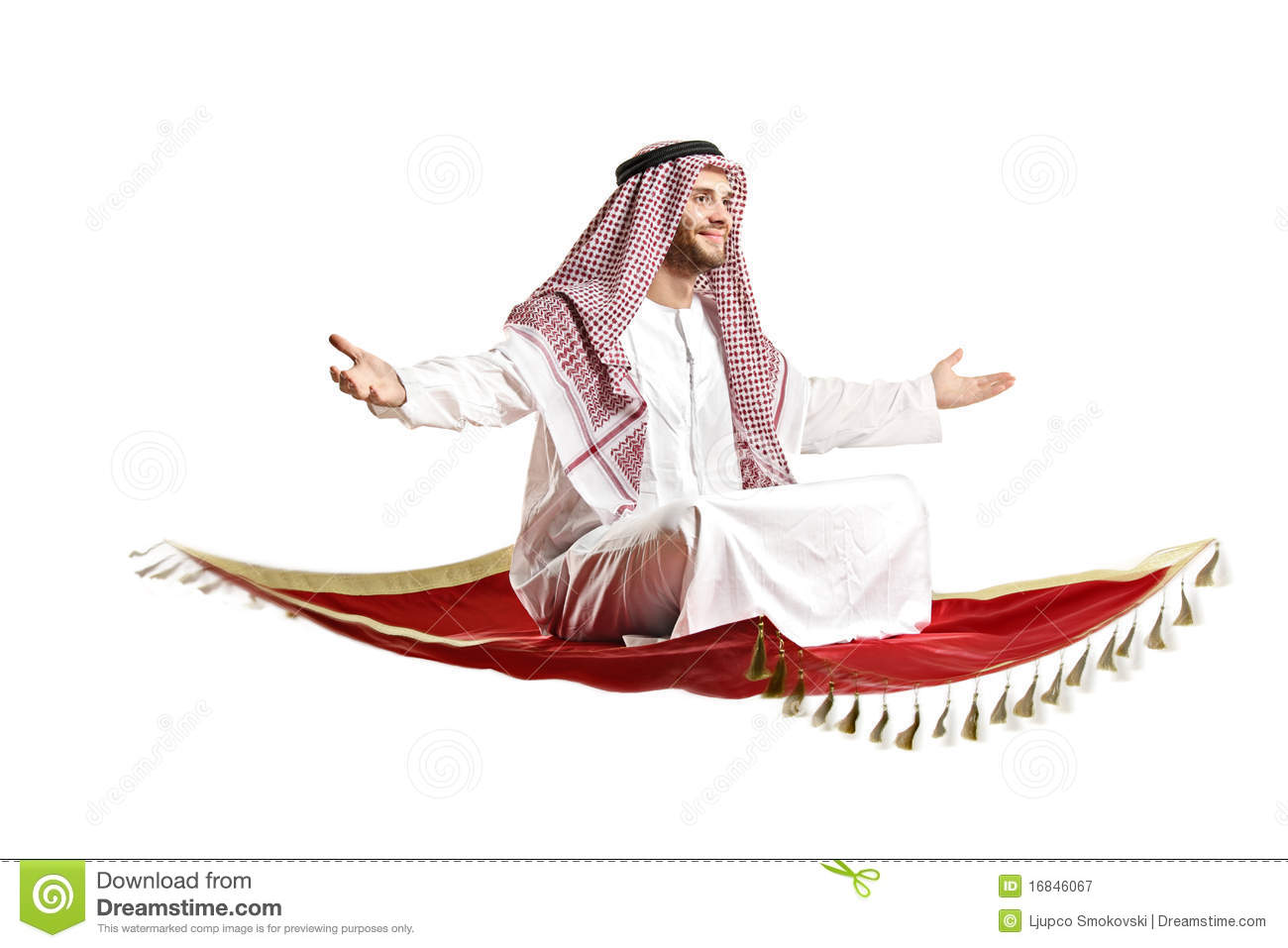 Arab Person Sitting On A Flying Carpet Stock Image Image