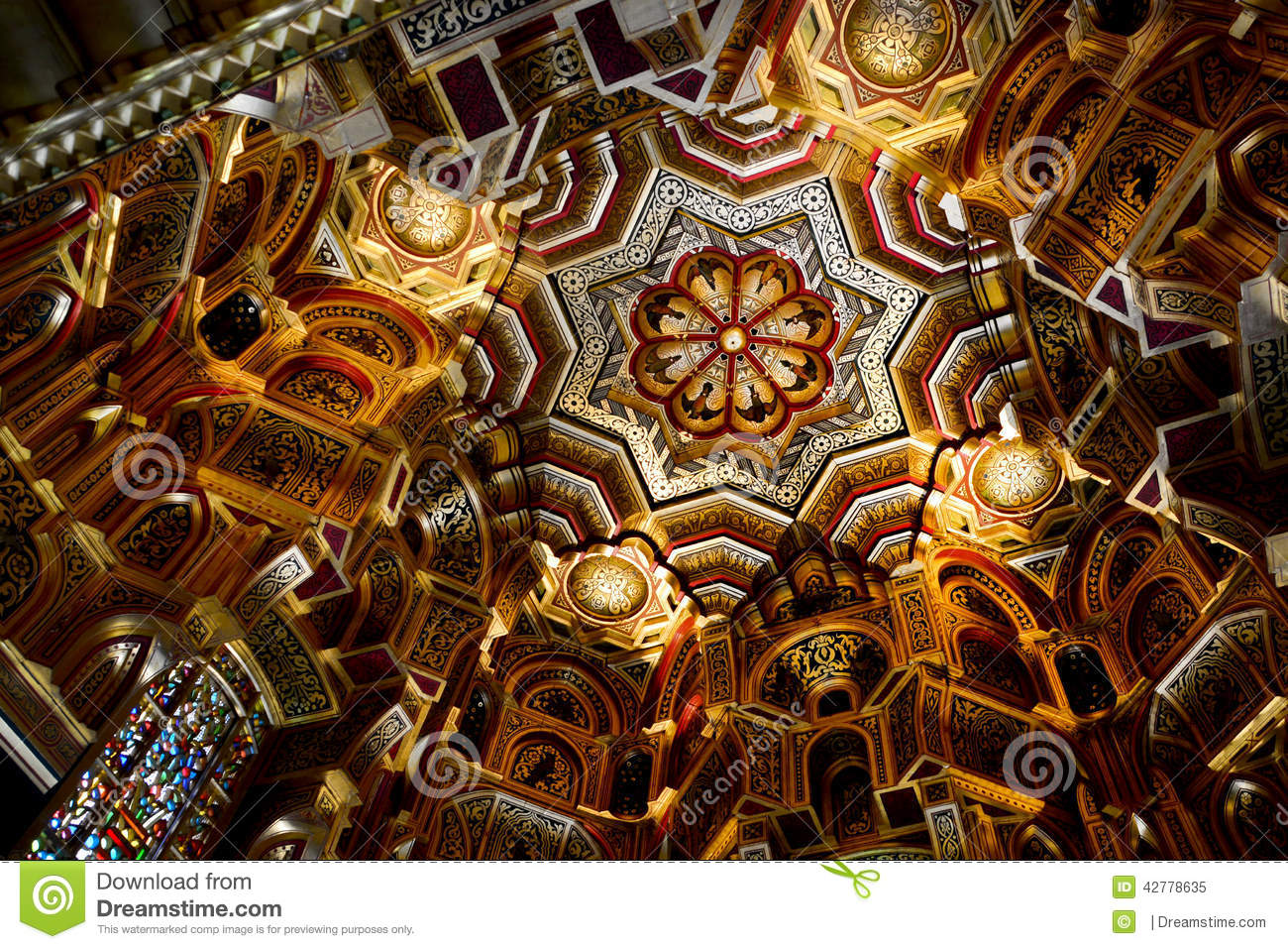 The ceiling of Arab room in Cardiff castle. One of the most beautiful
