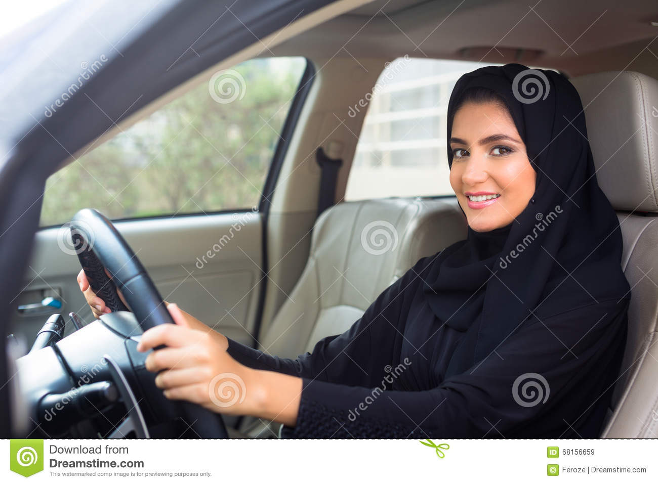 Arabian girls inside the car