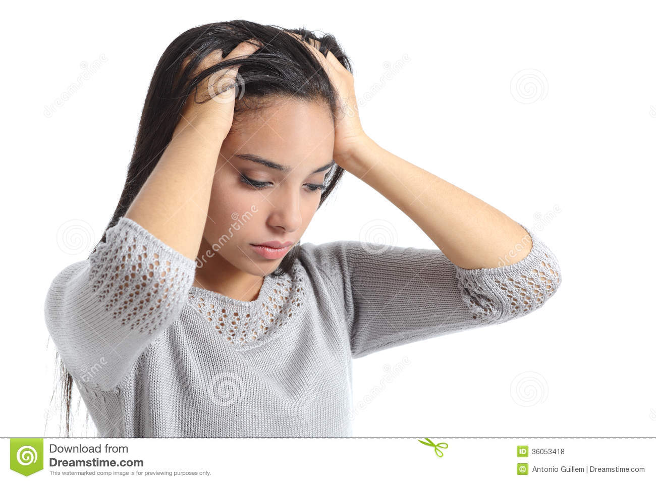 arab woman worried with the hands in the head stock photo image of