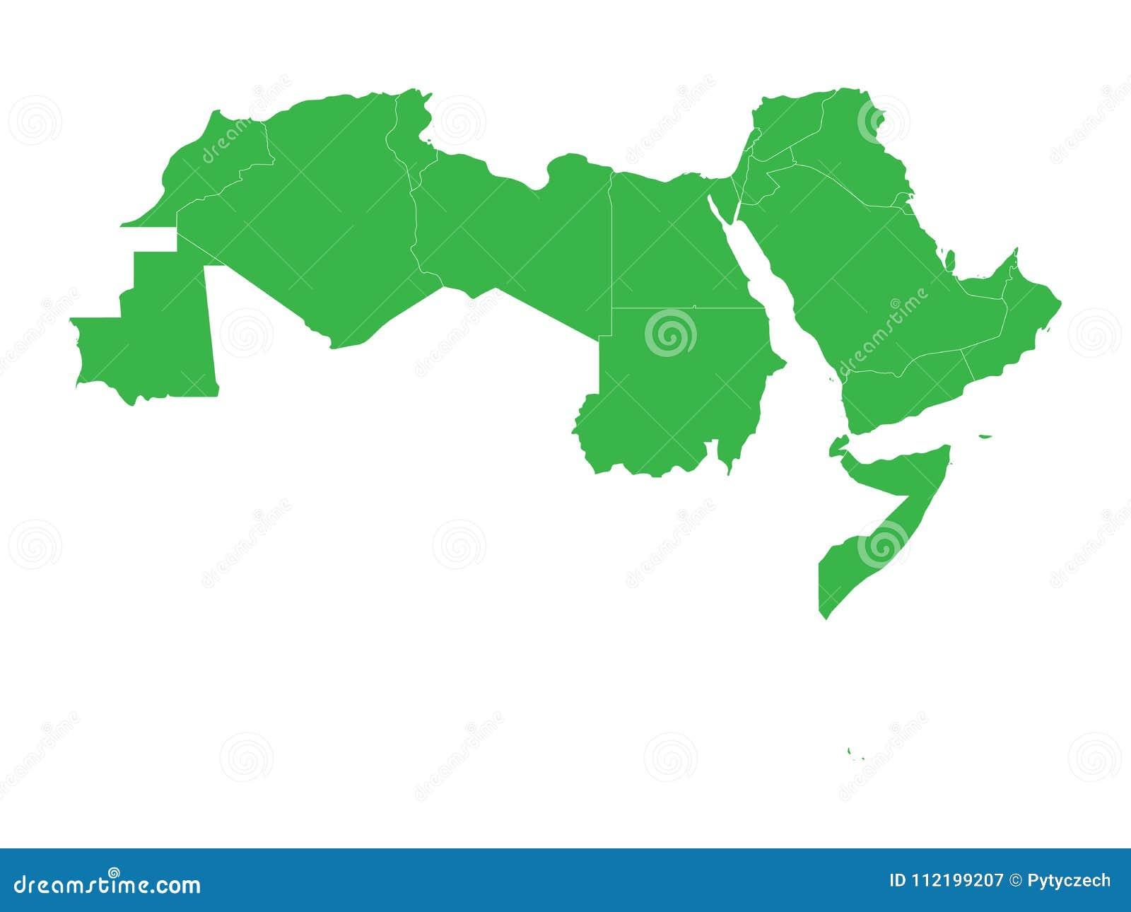 Arab World States Blank Political Map 22 Arabic speaking