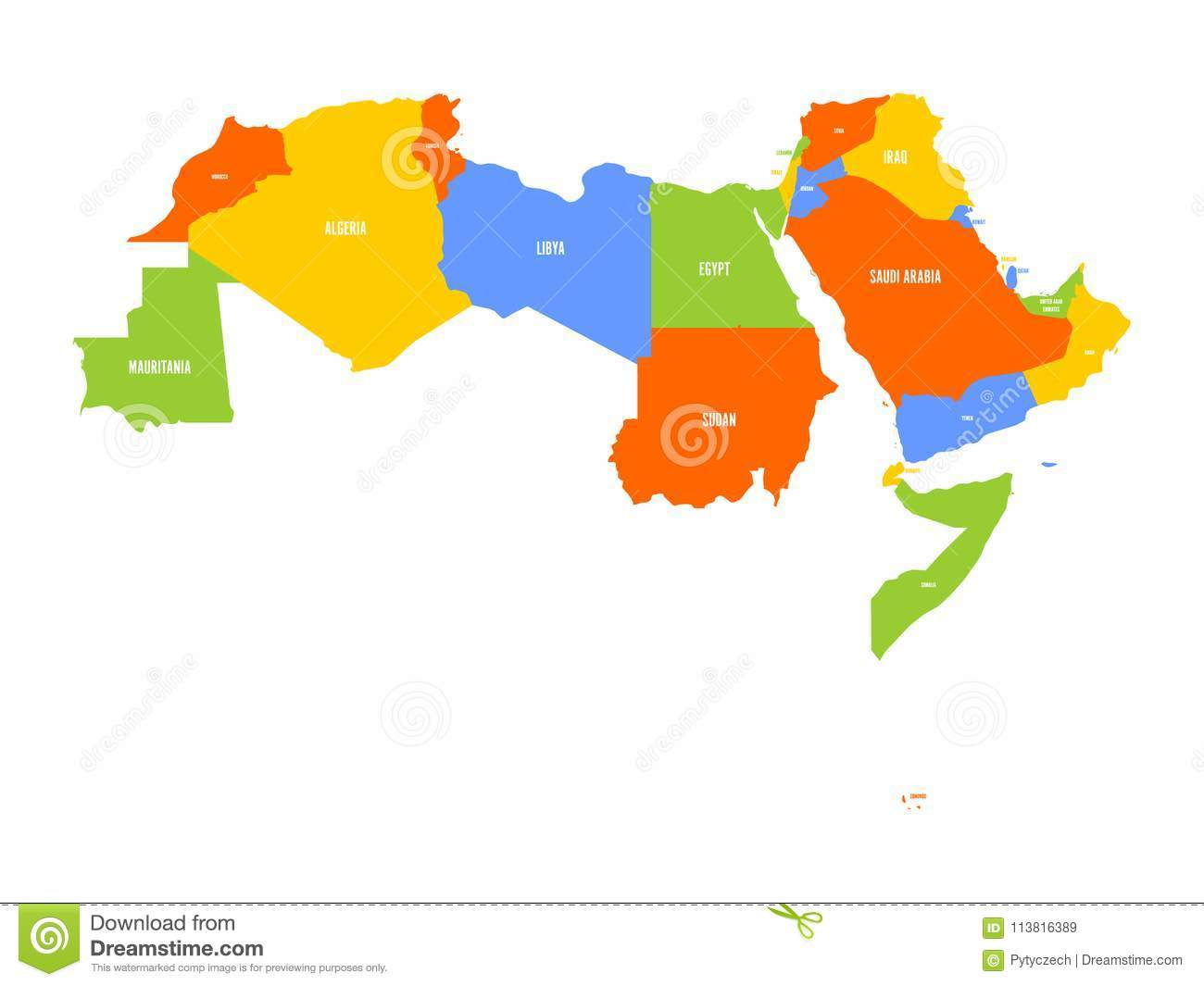 Arab World States Political Map 22 Arabic speaking Countries