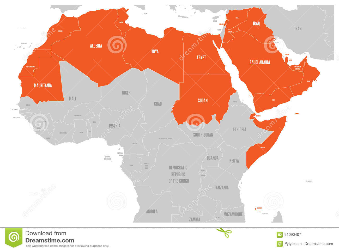 Arab World States Political Map With Higlighted 22 Arabic-speaking ...