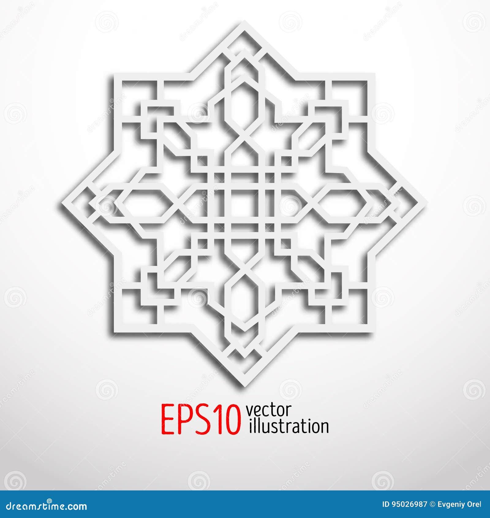 Arabeskowy projekt w 3d wschodni wzór Sakralna geometria