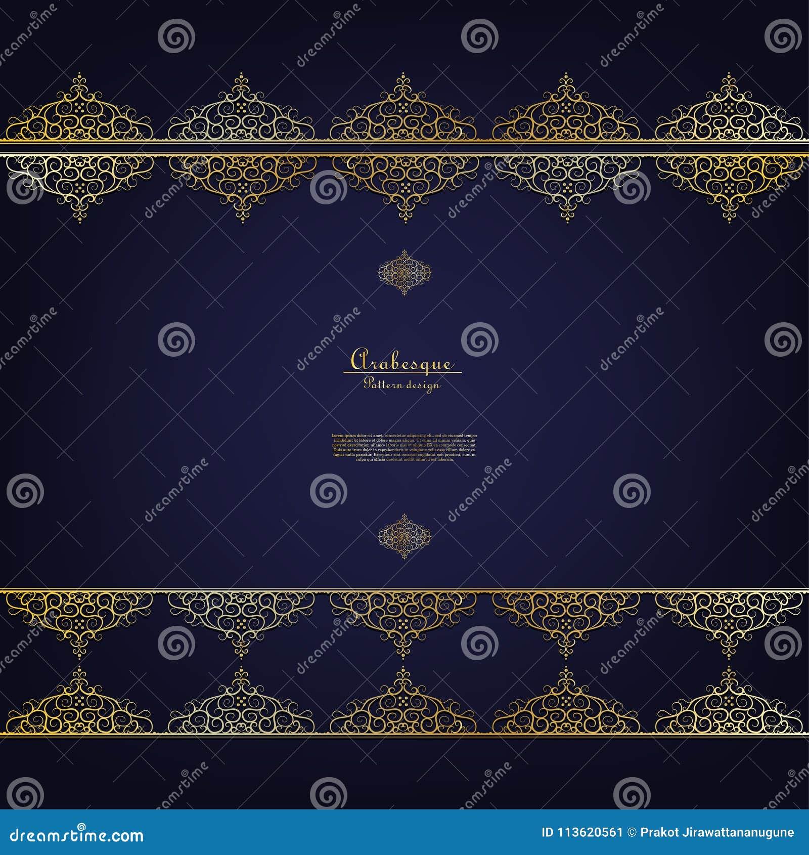 Download Arabesque Blue Pattern Gold Flower Background Template Vector Stock