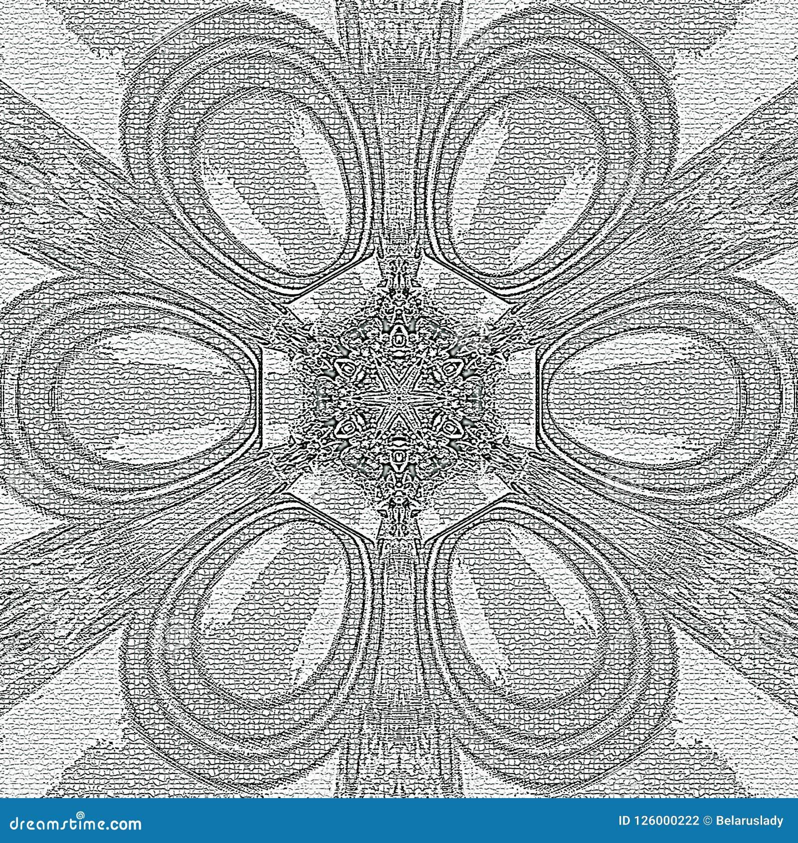 Arabesque Floral Do Mosaico Monocromatico Para Pintar Ilustracao
