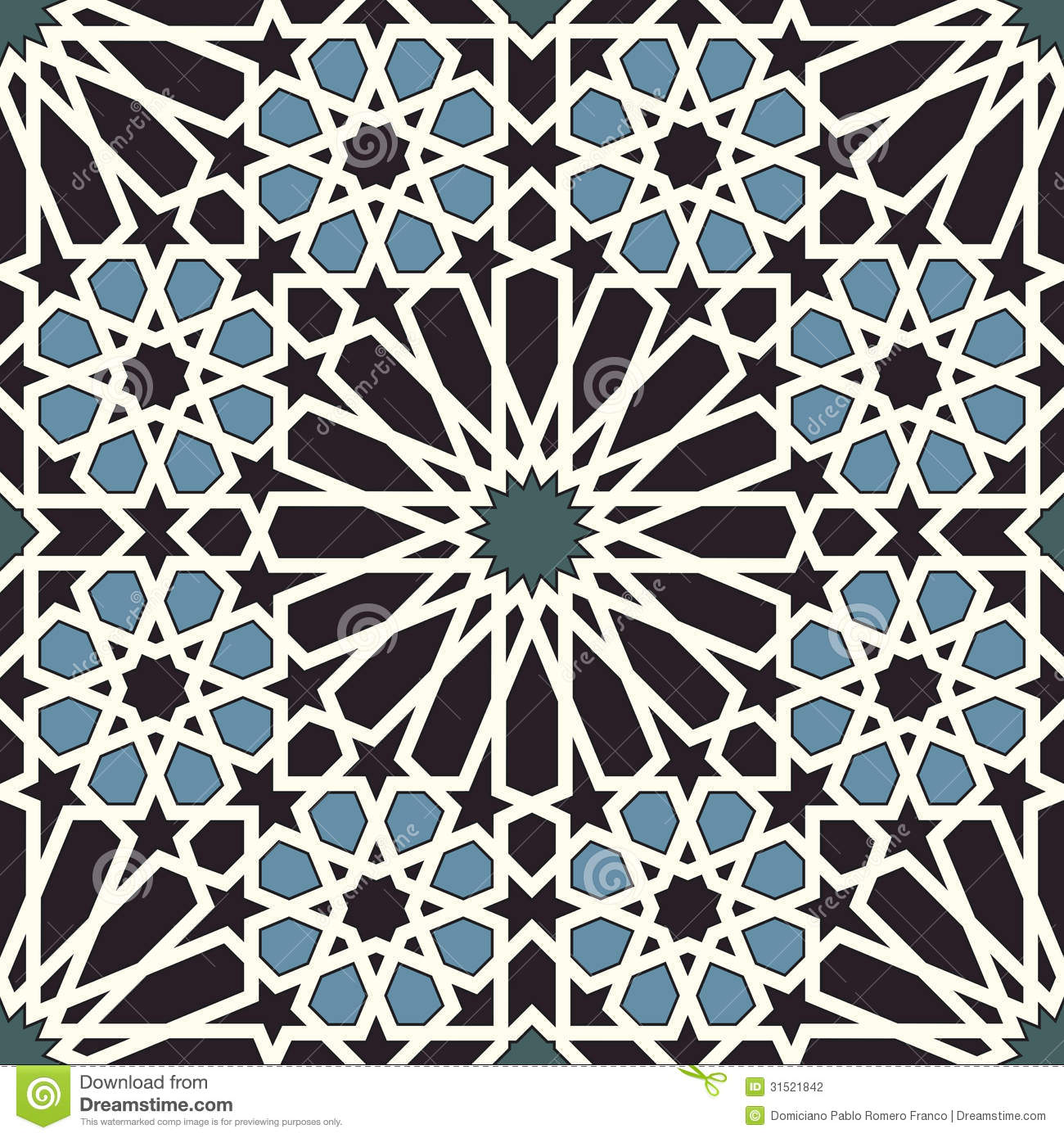 Arabesque Seamless Pattern In Blue And Black Stock