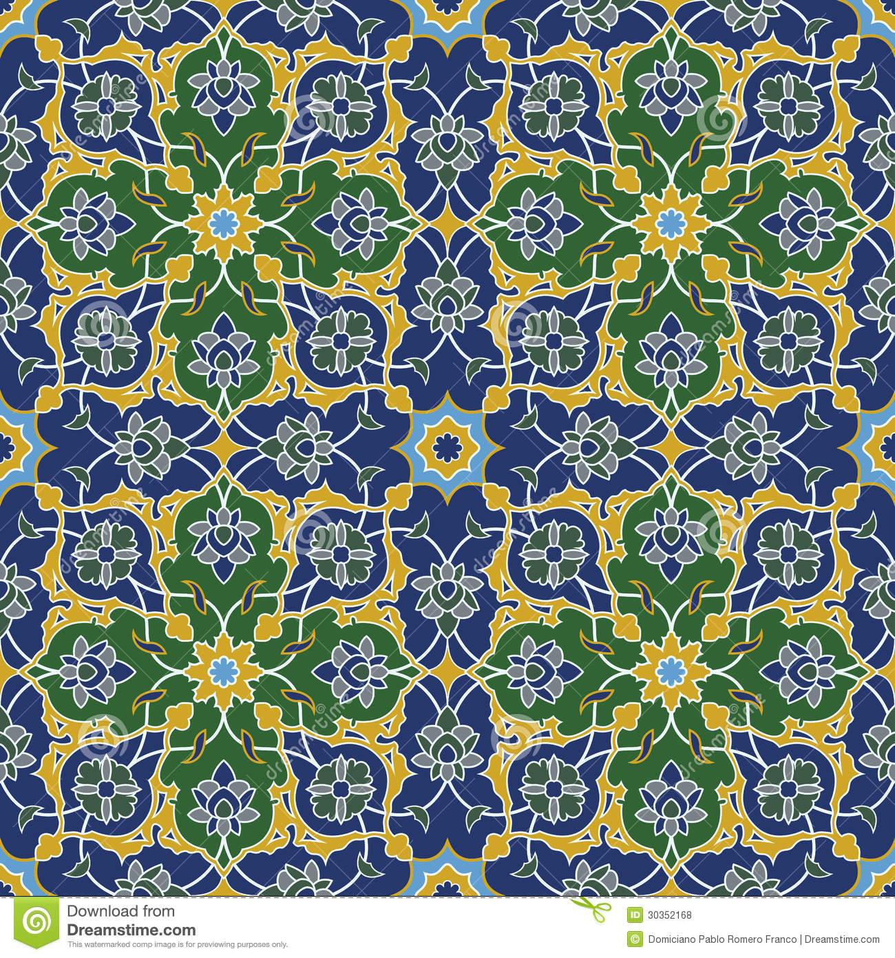 Download Arabesque Seamless Pattern In Blue And Green Stock Vector - Illustration of islamic, geometric: 30352168