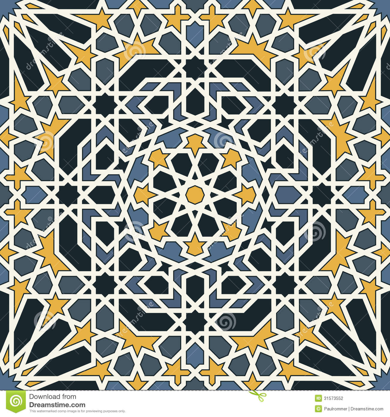 Download Arabesque Seamless Pattern In Blue And Yellow Stock Vector - Illustration of arabesque, shape: 31573552