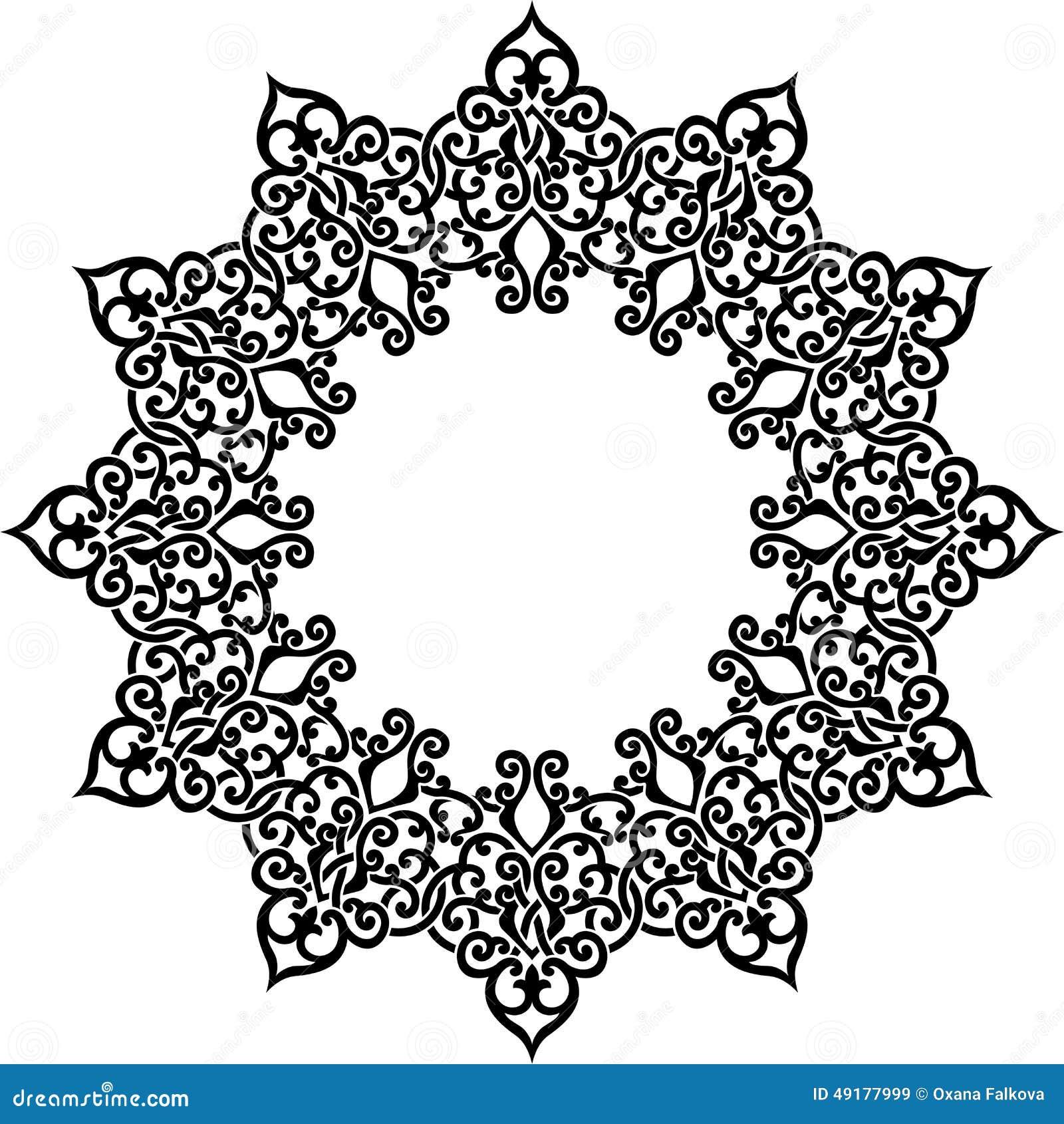 Vector illustration of circle ornamental frame. Stencil for decor.