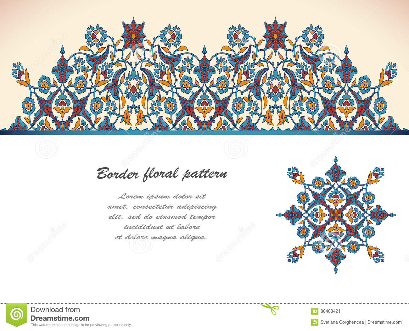 Arabesque vintage ornate border elegant floral decoration for Arabesque style decoration