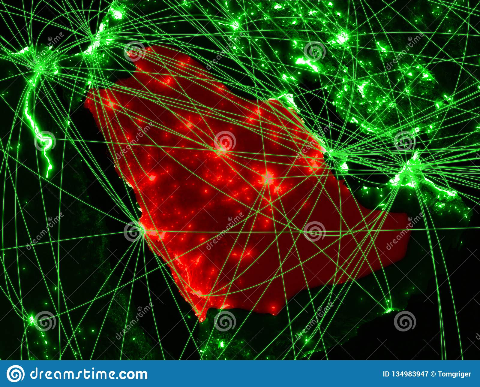 Arabia Saudyjska na zielonej mapie