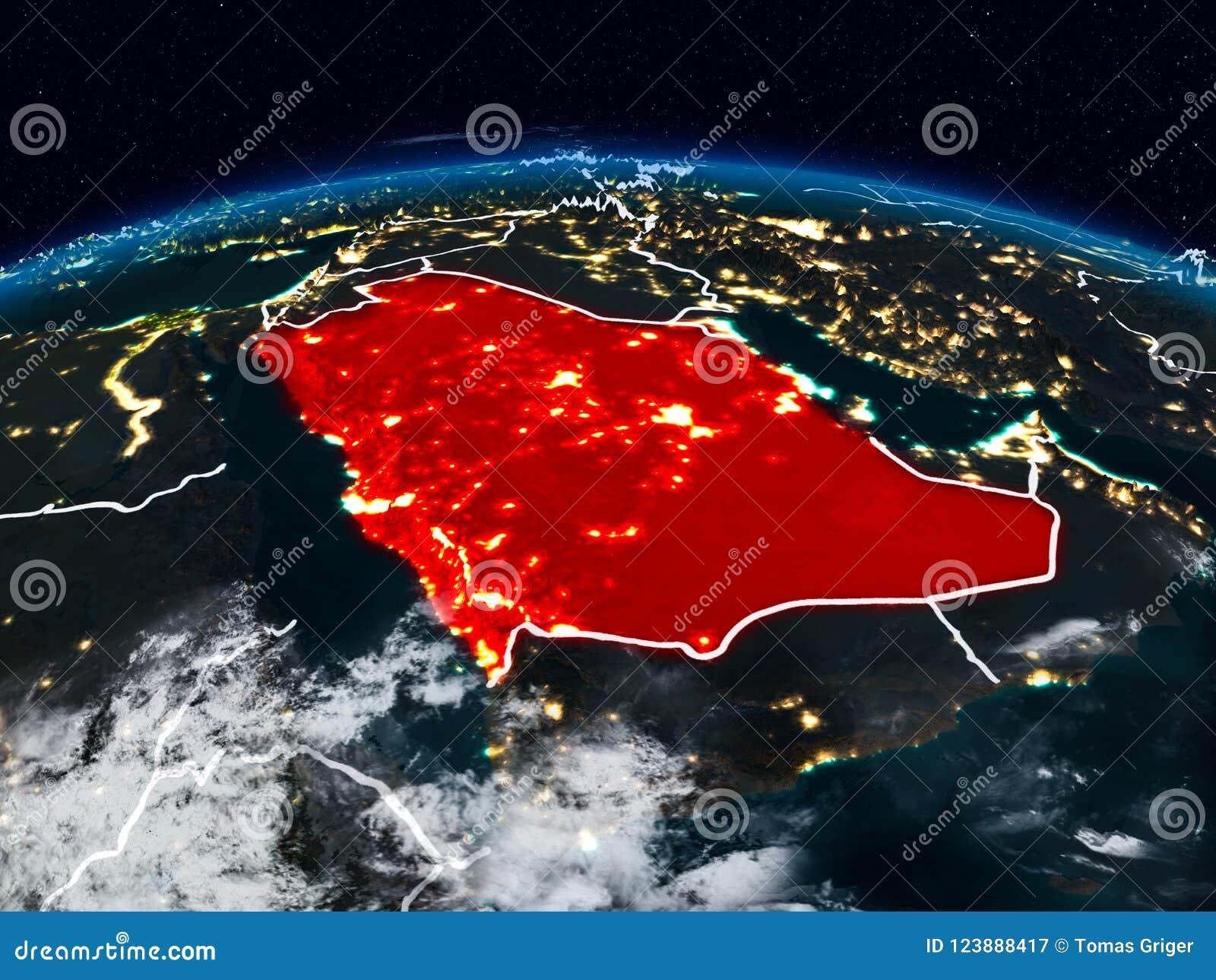 Arabia Saudyjska przy nocą