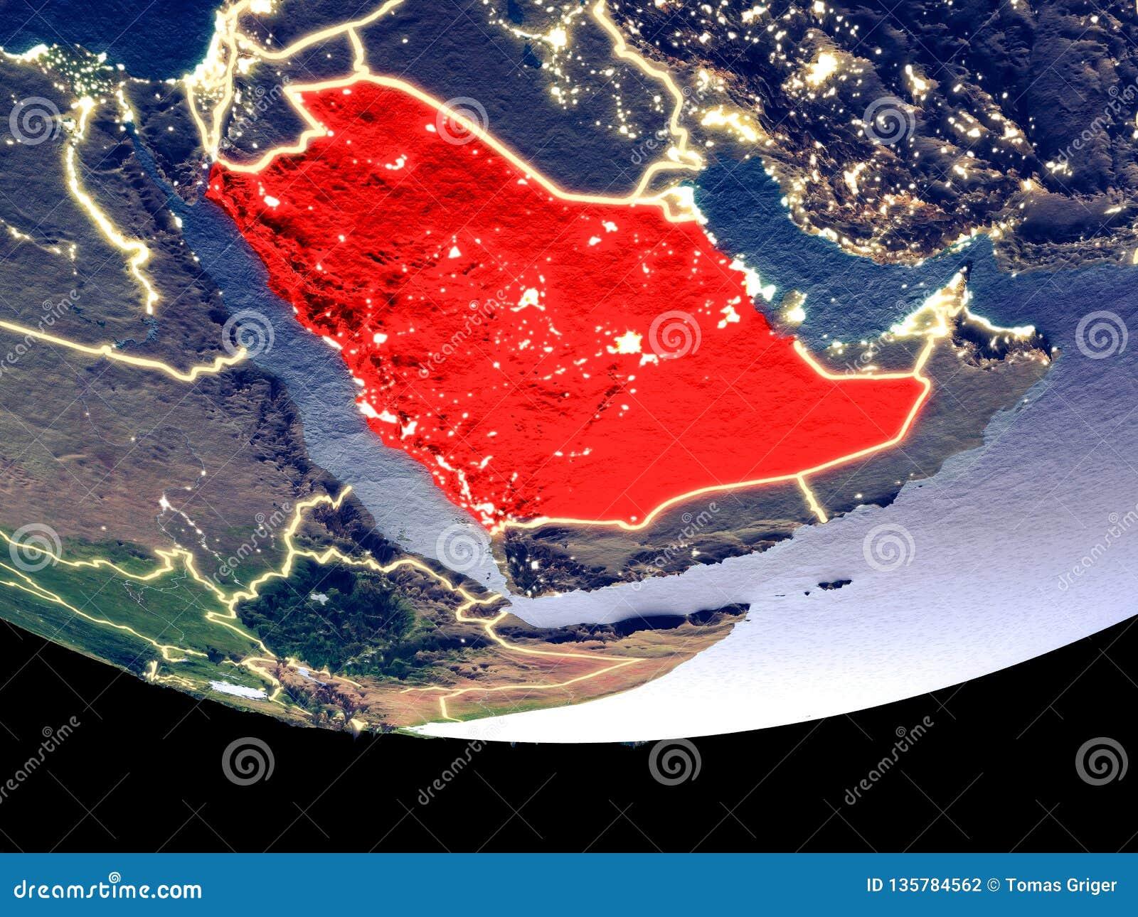 Arabia Saudyjska przy nocą od przestrzeni