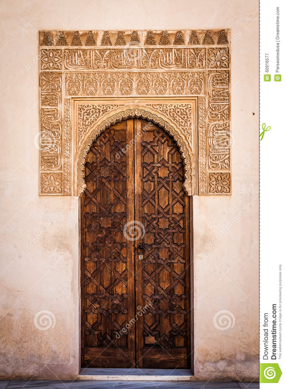 Arabian door in alhambra editorial photography image for Alhambra decoration