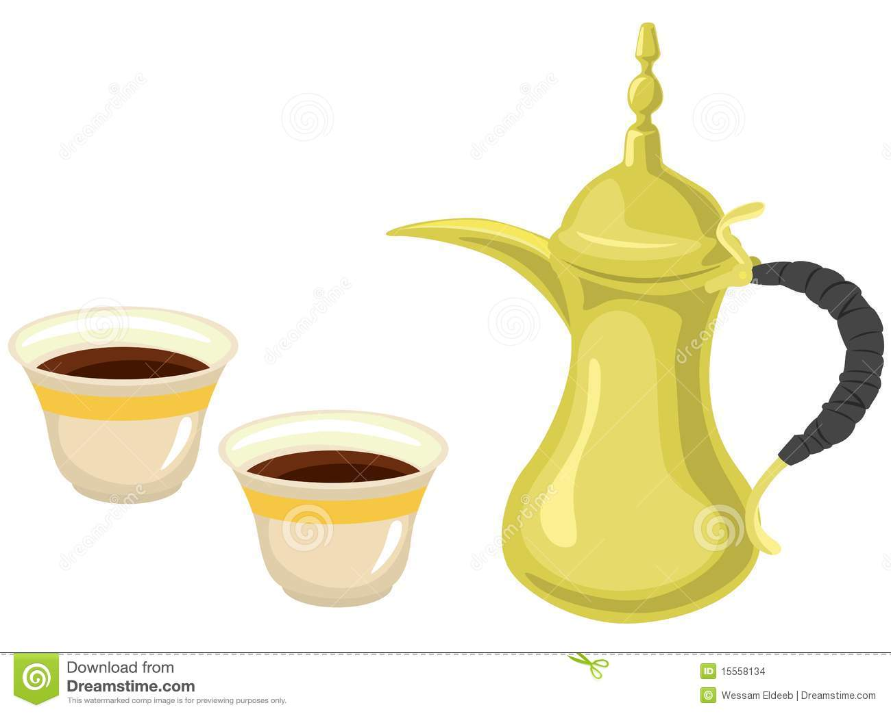 arabian golden coffeepot amp coffee cups stock images   image 15558134