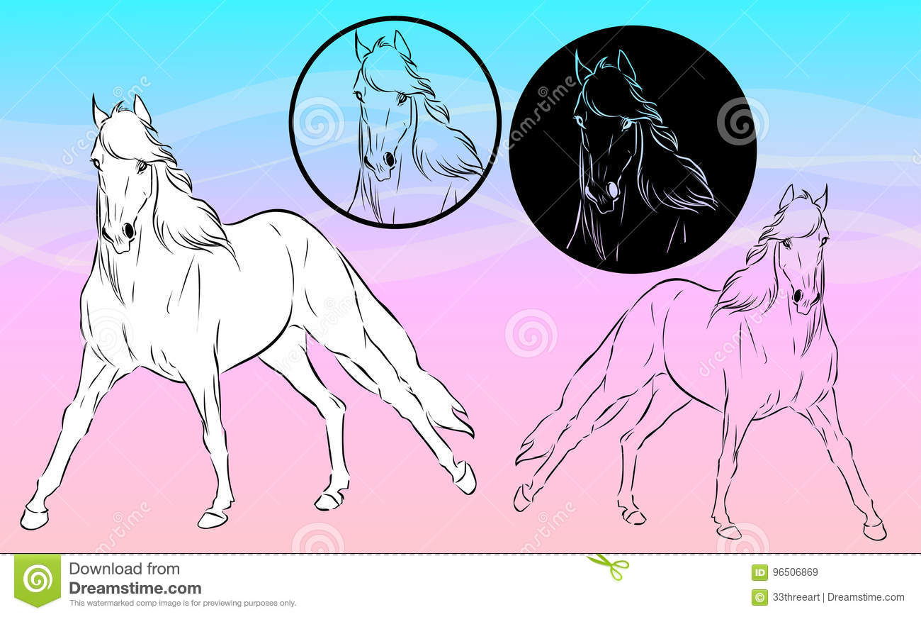 Arabian Horse Stock Vector Illustration Of Design Running 96506869