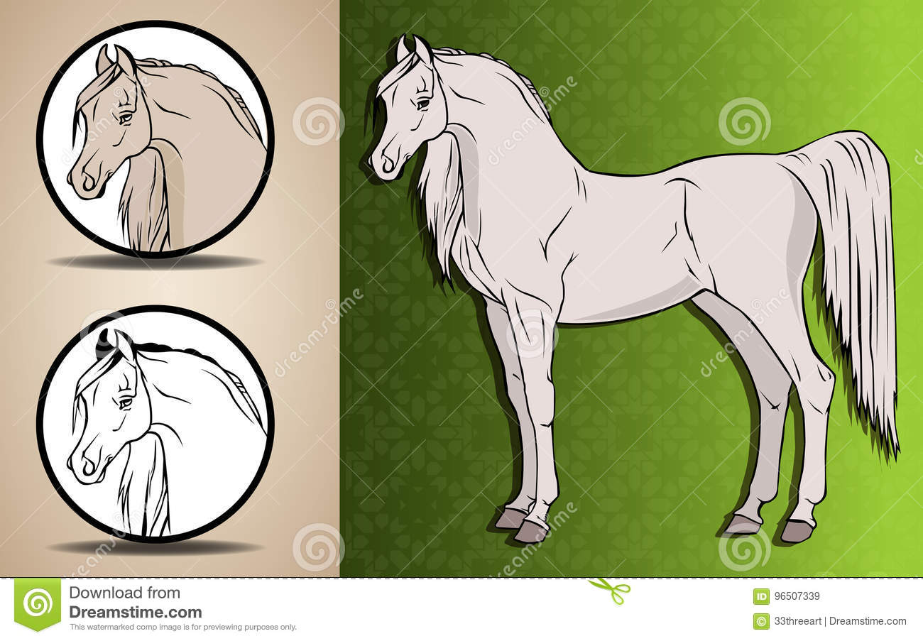 Arabian Horse Stock Vector Illustration Of Sketch Green 96507339