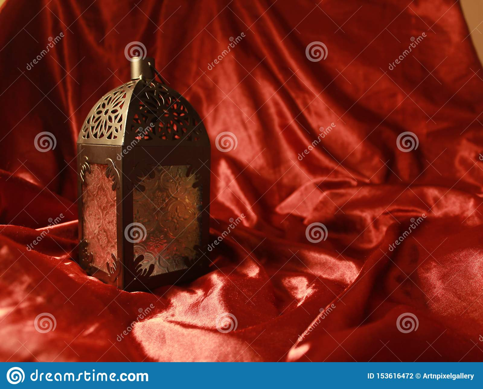 Arabian Lamp Eid Ramadan Celebration Festival With Rich Elegant Luxurious Red Silk Background Stock Photo Image Of Arabian Card 153616472