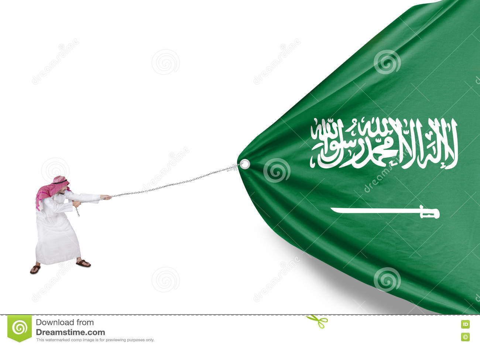 Arabian Person Pulls Saudi Arabia Flag