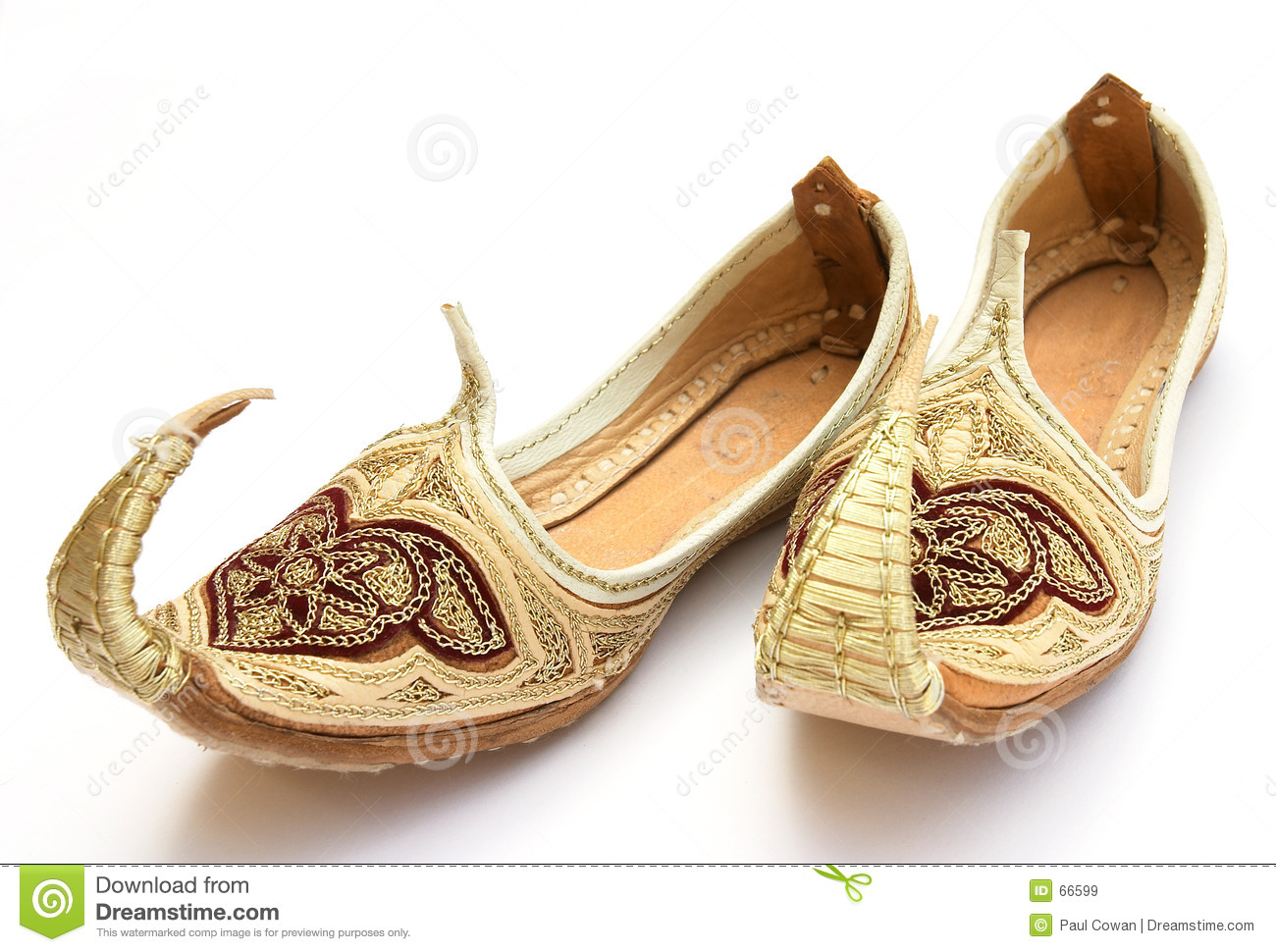 pair of miniature Persian or Arab shoes in the Aladdin style.