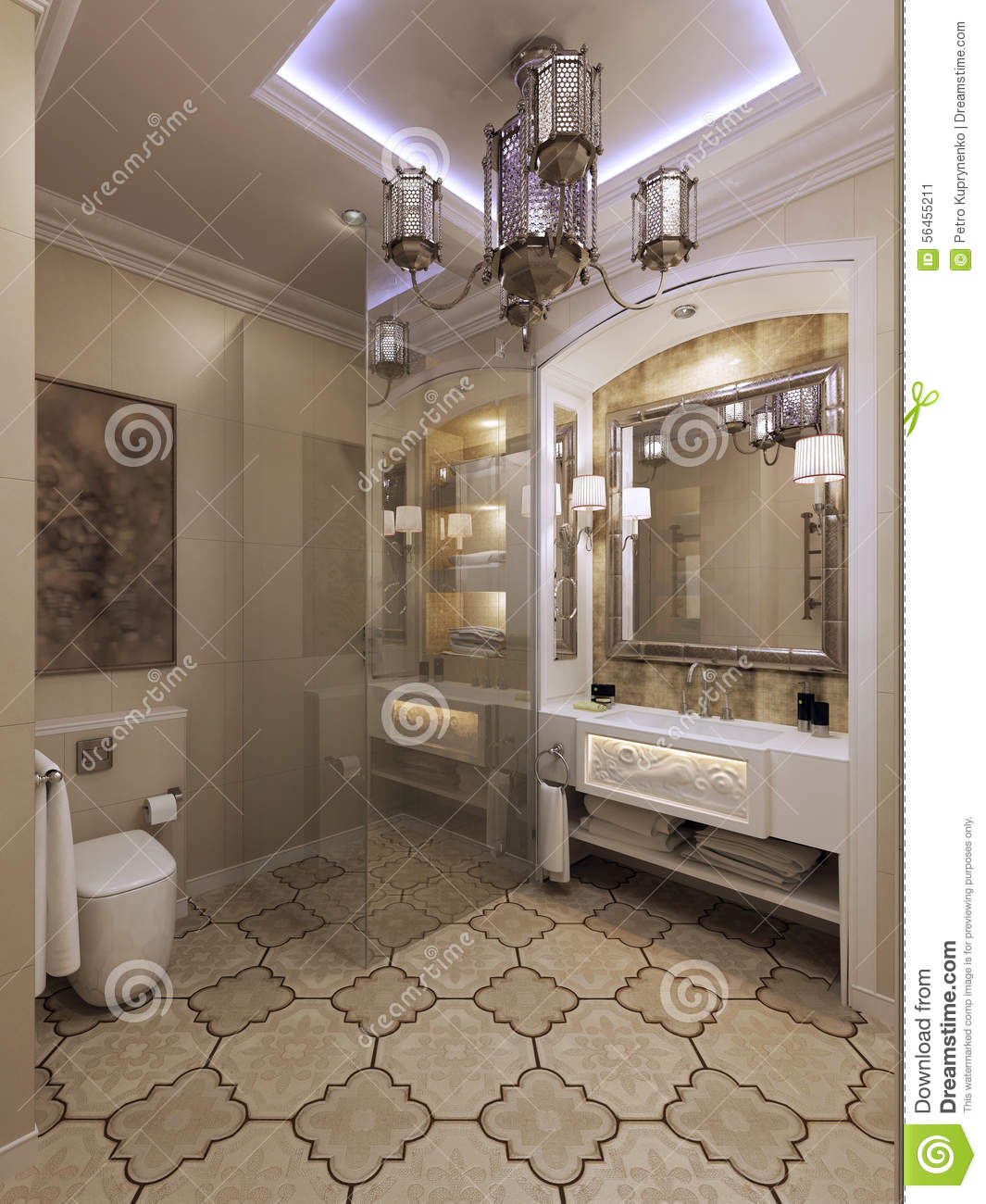 Arabic bathroom moroccan style stock illustration image for Salle de bain design marocain