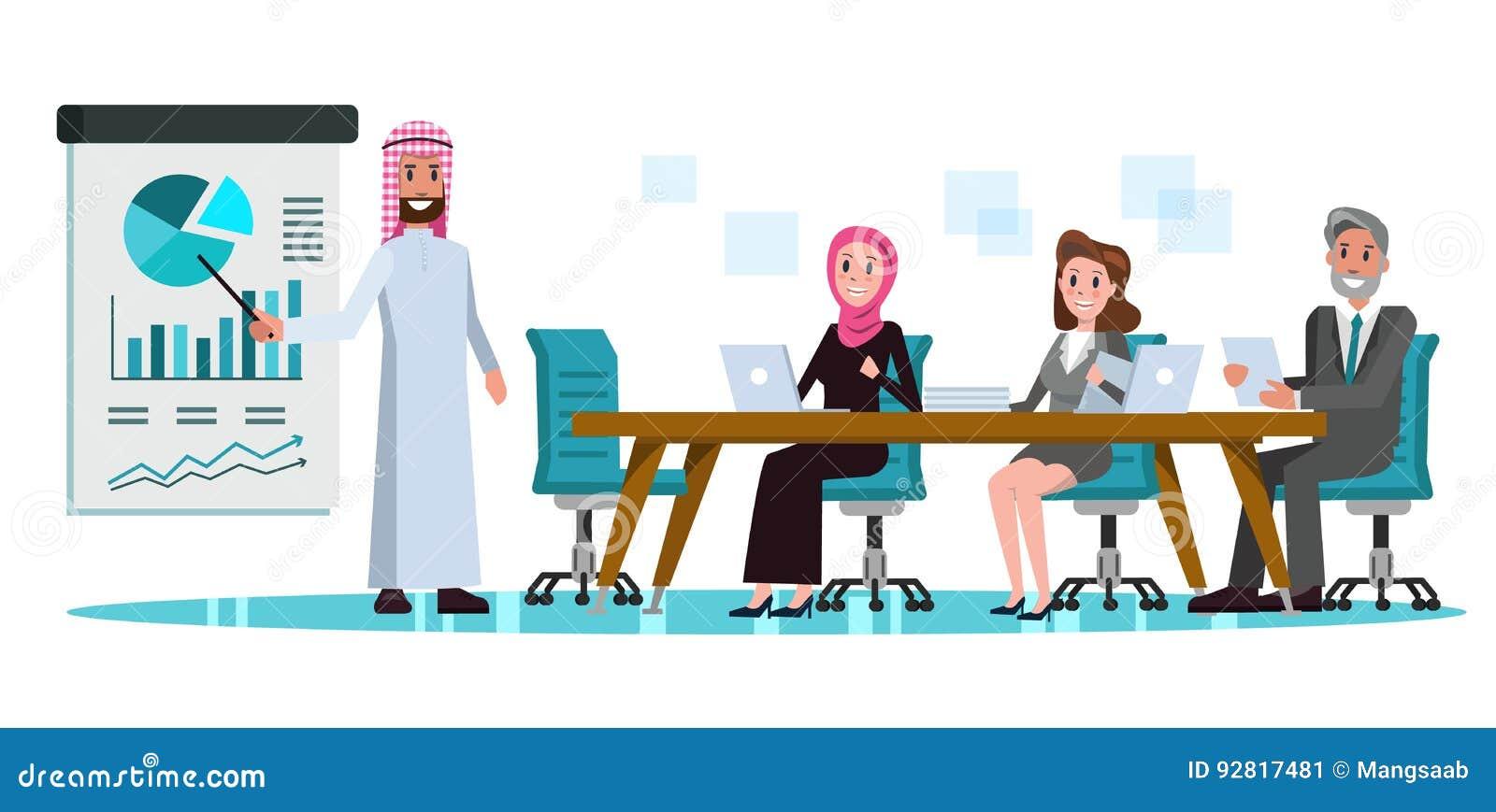 arabic businessman presenting business plan in meeting room stock