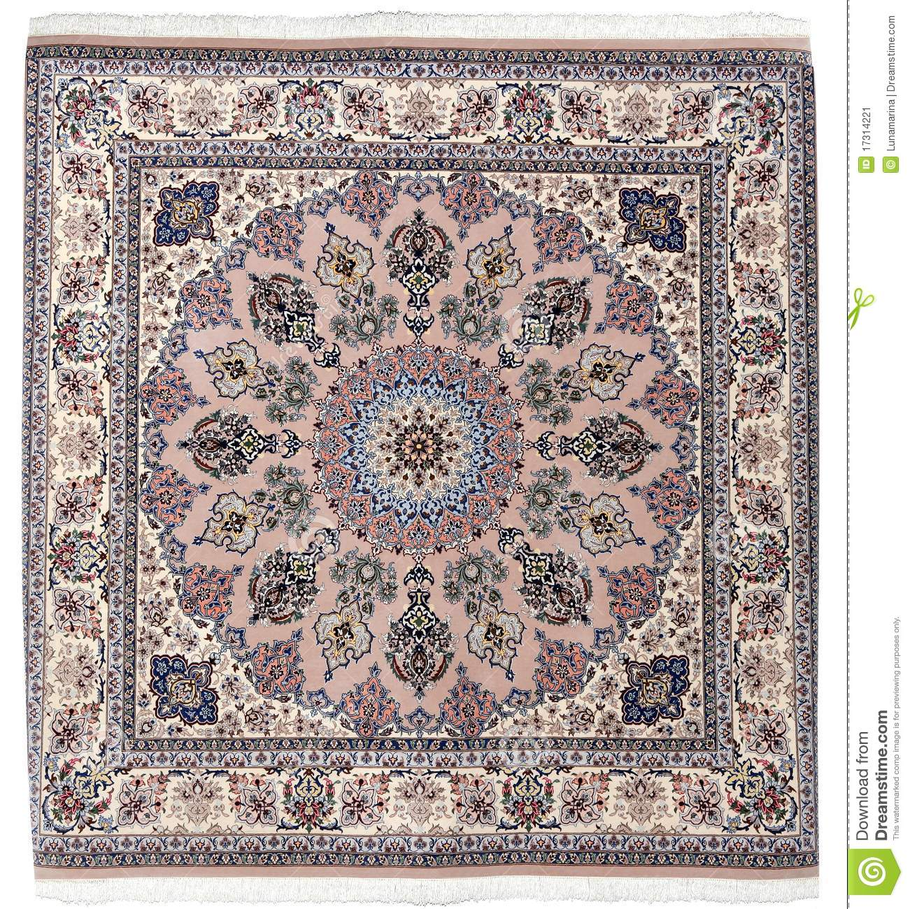 Arabic Carpet Colorful Persian Islamic Handcraft Stock