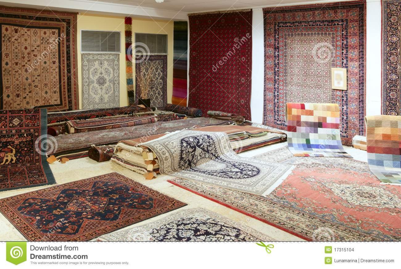 Arabic Carpet Shop Exhibition Colorful Carpets Stock Photo