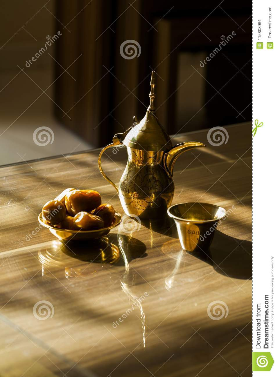 Arabic coffee pot`Dallah` and date fruit