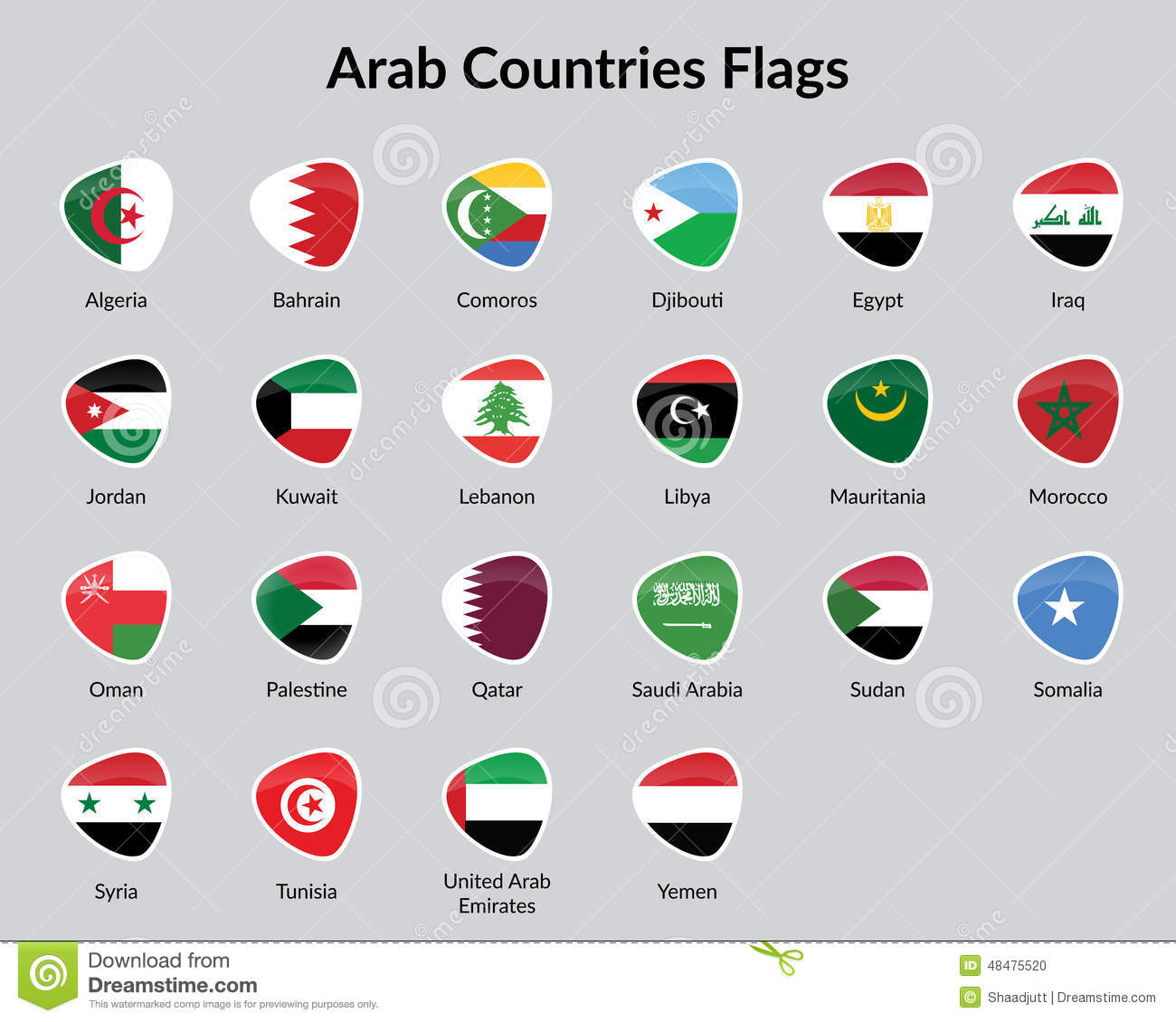 Arabic countries flags stock vector  Illustration of global