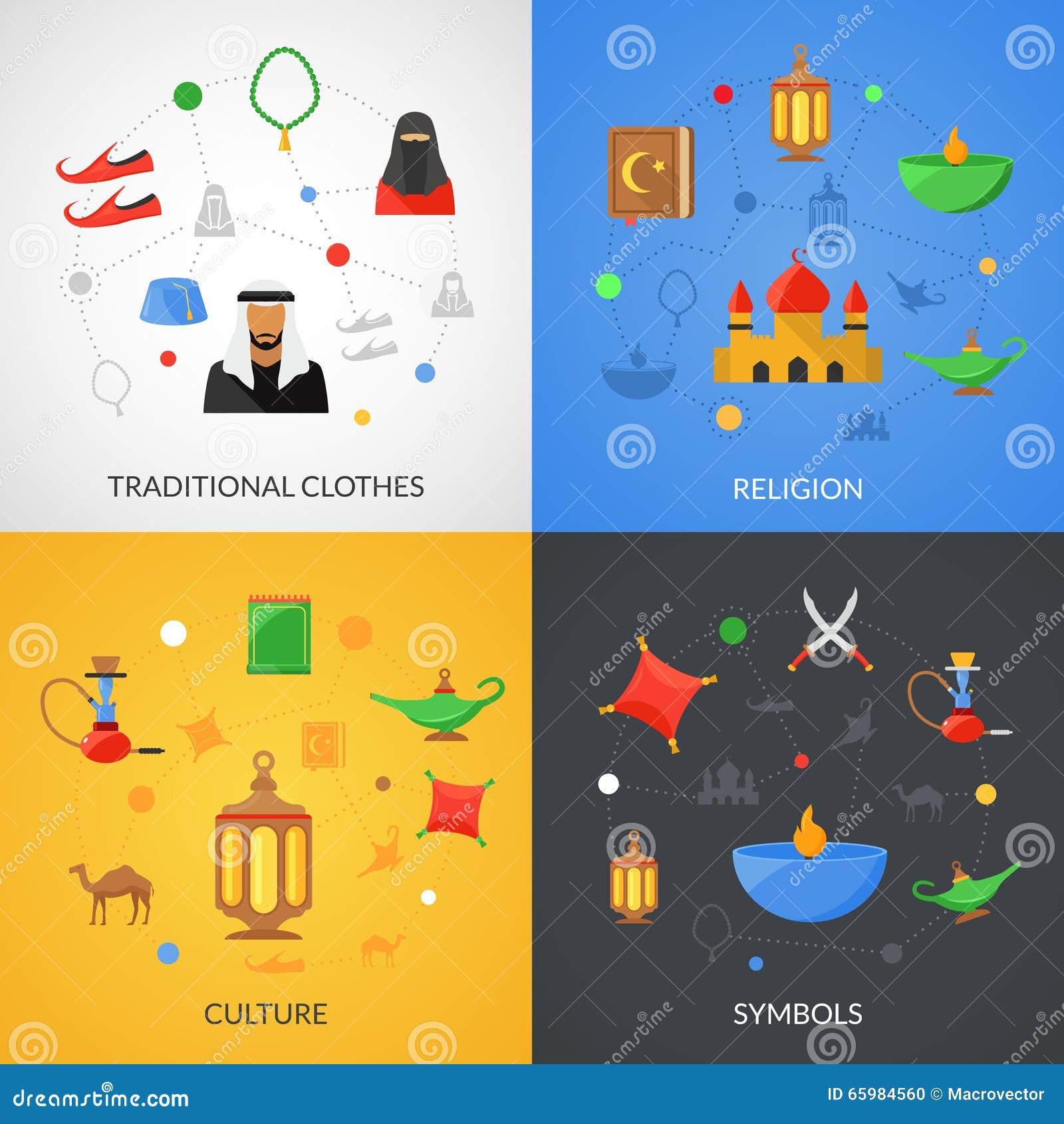 Arabic Culture Black Icons Set Vector Illustration