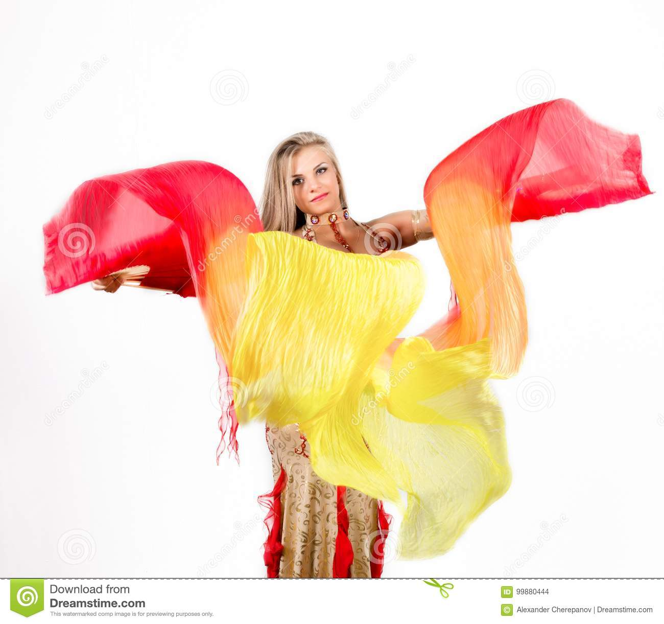 Arabic dance with fans and ribbons performed by a beautiful plump woman