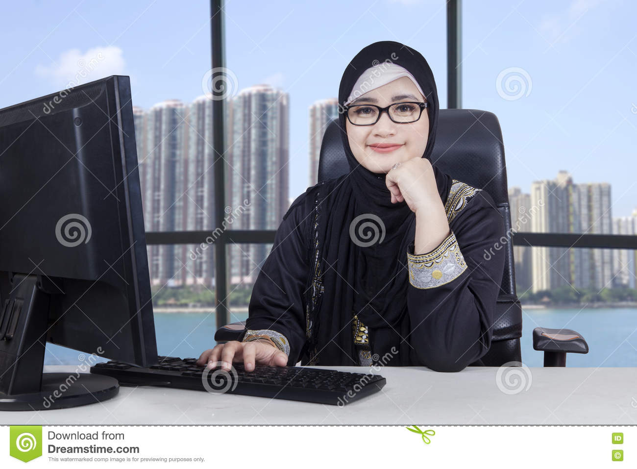 Arabic female entrepreneur works in office
