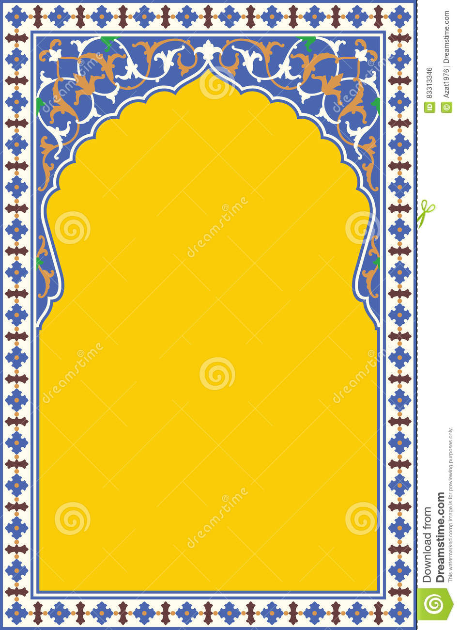 Arabic Floral Arch. Traditional Islamic Background. Mosque decoration element.
