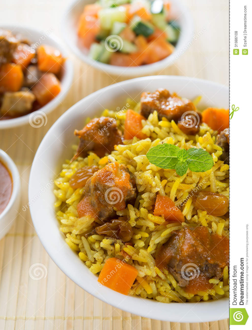 Arabic food stock photo image of mutton carrot dish for Arabic cuisine food