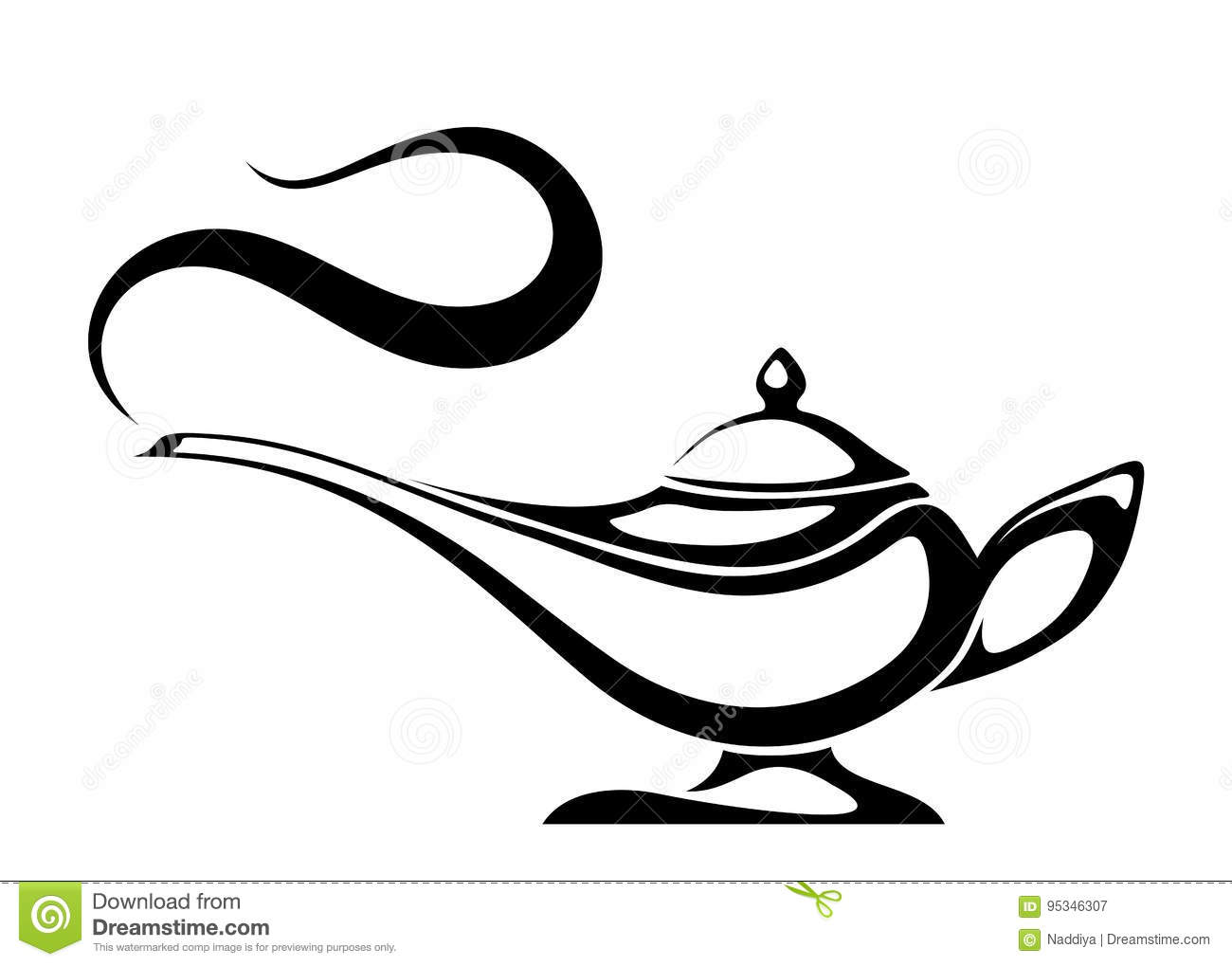 Arabic Genie Lamp Vector Black Silhouette Stock Vector