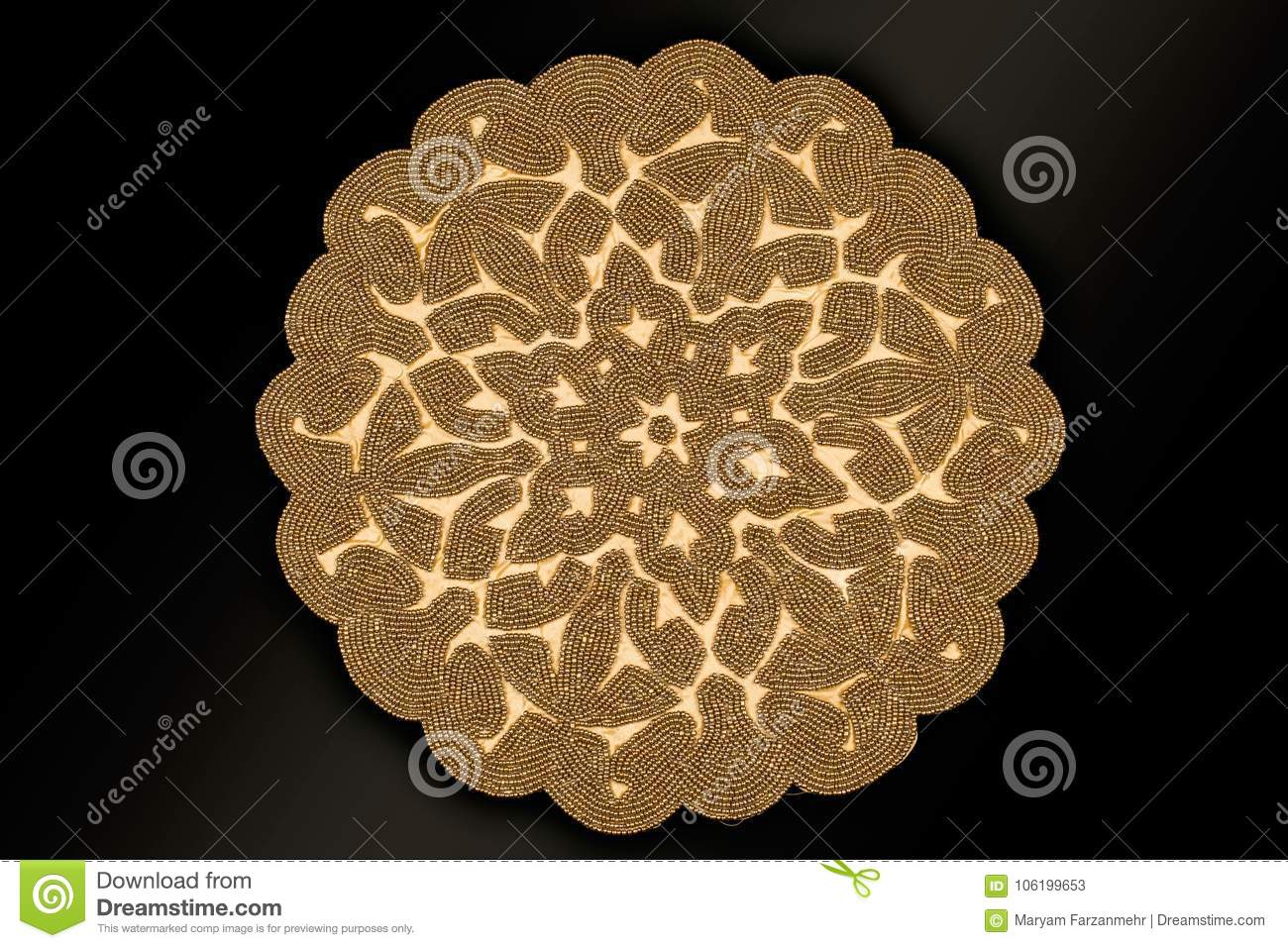 Arabic And Indian Round Gold Hand Beaded And Handmade Placemats