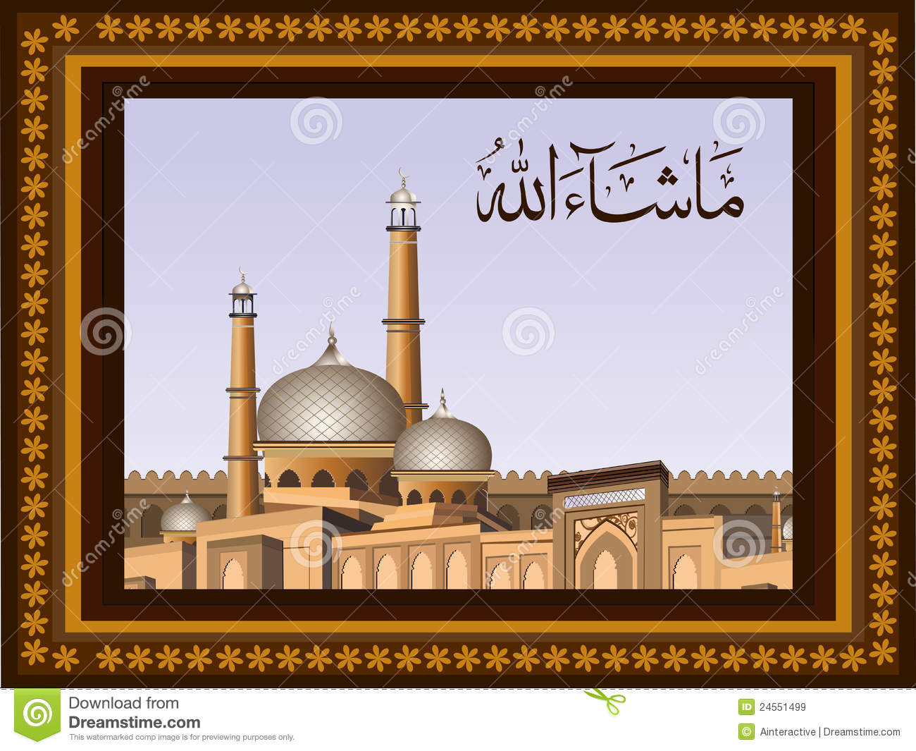 ... Masjid on modern abstract background with floral pattern & frame. EPS