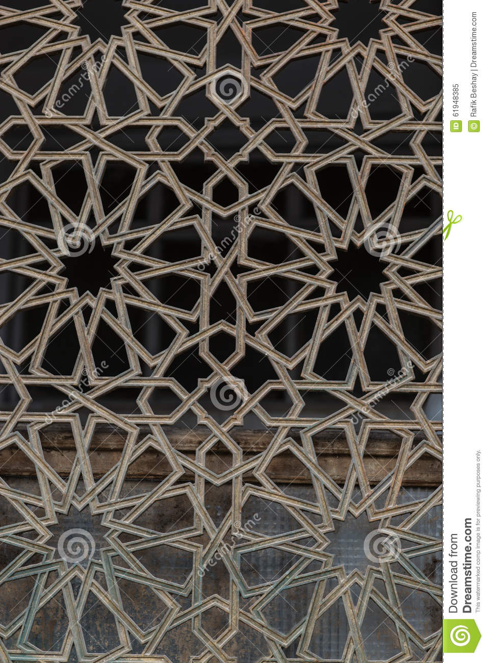 Arabic Islamic Pattern Background Window Of Mosque Stock