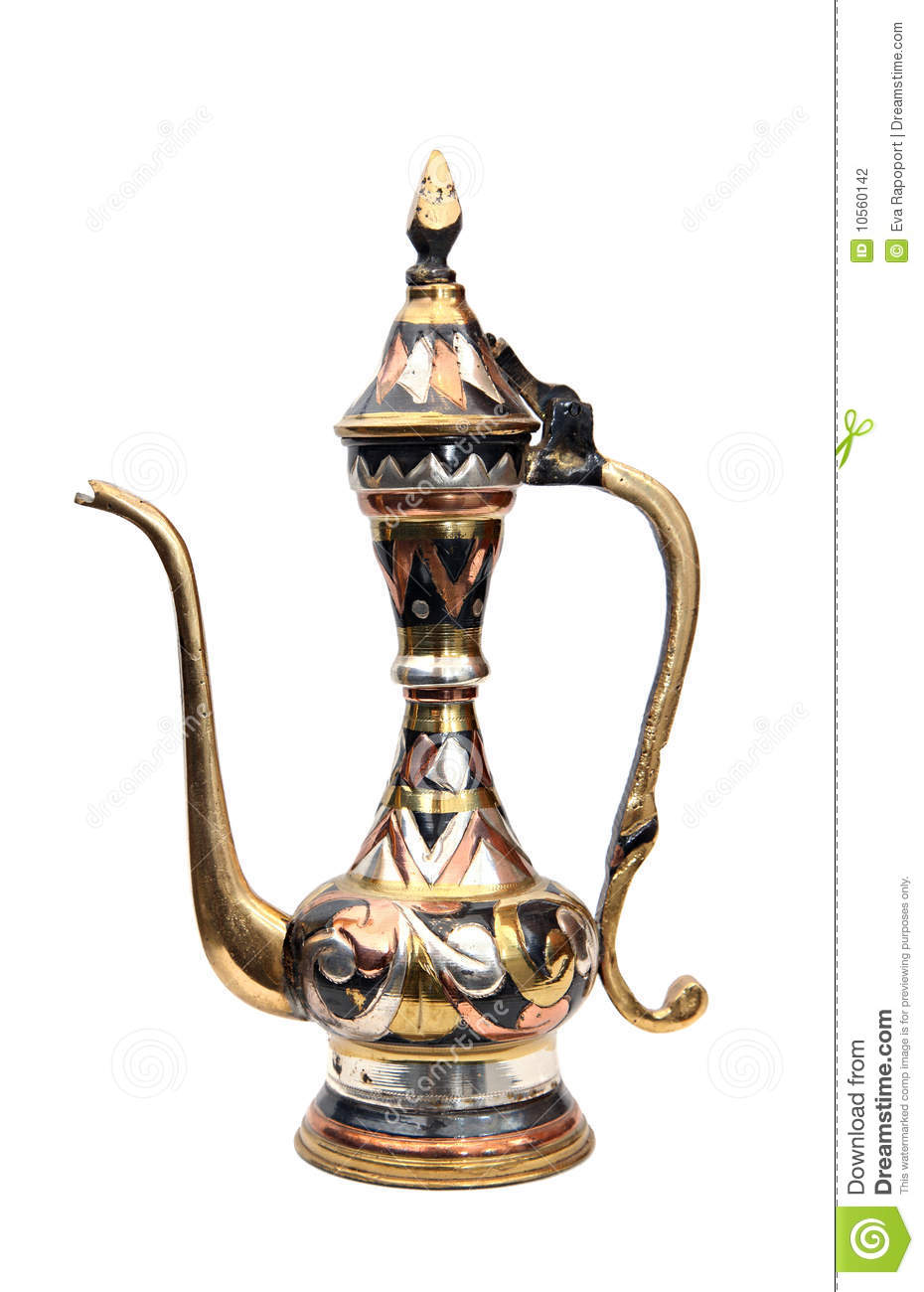 Arabic jar o coffee pot decorated with ornaments.